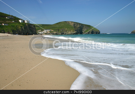 Waves breaking on beach stock photo, Waves breaking on beach, Porteath, Cornwall by Stephen Rees