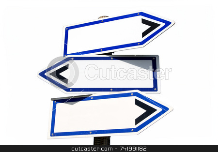 Blank three-way direction signpost. stock photo, Blank three-way direction signpost on a white background. by Stephen Rees