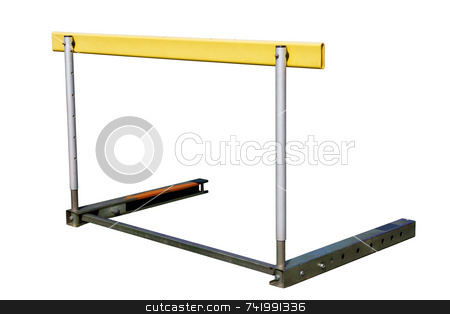 An athletics hurdle, isolated on a white background. stock photo, An athletics hurdle, isolated on a white background. by Stephen Rees