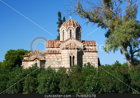 Little Byzantine Church stock photo, The little Byzantine church of