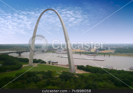 St. Louis Arch and a barge stock photo, An interesting view of the Arch - Gateway to the West - the Jefferson National Expansion Memorial (U.S. National Park Service) by Mitch Aunger