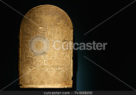 Stone Tablet with Hieroglphics stock photo, A stone tablet with heiroglyphics telling a story. by Mitch Aunger