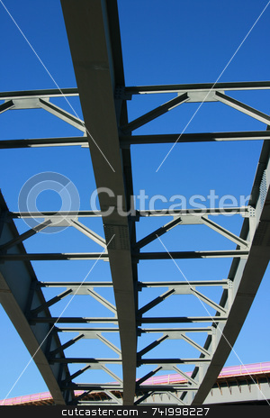 New Highway Construction - unfinished roadbed stock photo, Highway Construction for new bridges - unfinished roadbed from below. Focus is on the top of the image and the lower portion is slightly out of focus by Mitch Aunger