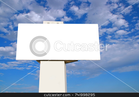 Large Billboard with blue sky and clouds stock photo, Brand new billboard and a brilliant blue sky with wispy clouds. by Mitch Aunger
