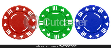Colorful red green and blue clay poker chips stock photo, Colorful red green and blue clay poker chips isolated on a white background. by Stephen Rees