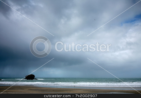 Storm clouds gathering over the sea in Portreath. stock photo, Storm clouds gathering over the sea in Portreath. by Stephen Rees