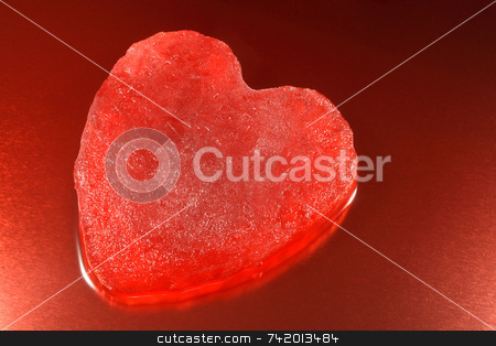 Melting red ice heart. stock photo, Melting red ice heart. by Stephen Rees