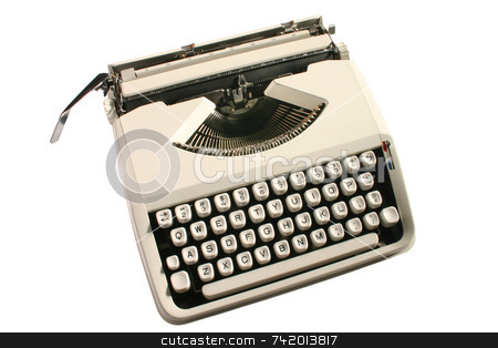 Old cream colored typewriter stock photo, Old cream colored typewriter by Stephen Rees