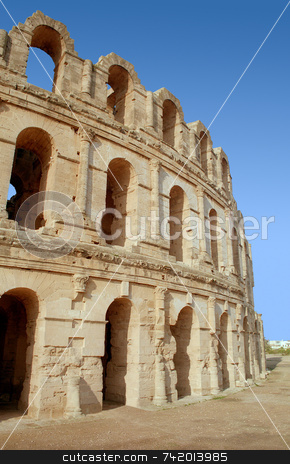 El Jem Roman Coliseum  stock photo, The historic El Jem Roman Coliseum in Tunisia. by Stephen Rees