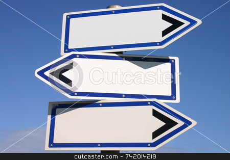 Blank three-way direction signpost with a blue sky background stock photo, Blank three-way direction signpost with a blue sky background by Stephen Rees