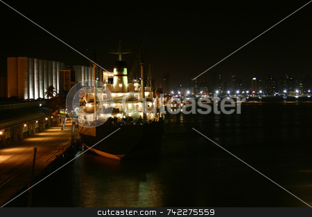 Port at night stock photo, A view of a port at night. by Daniel Wiedemann
