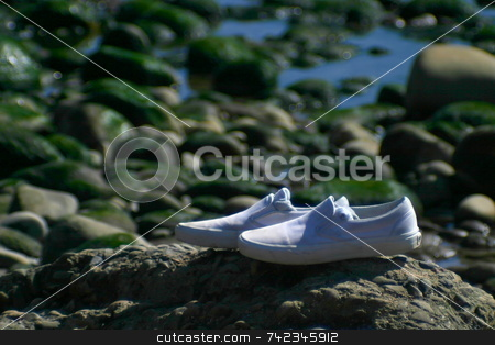 Left Alone stock photo, A pair of white shoes left alone on the beach by Henrik Lehnerer
