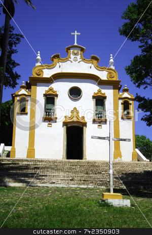 Yellow and White Church stock photo, A small church or chapel in Fernando de Noronha - Brazil. by Daniel Wiedemann