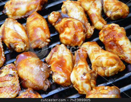 Wings stock photo, Barbecued chicken wings on grill by Jack Schiffer