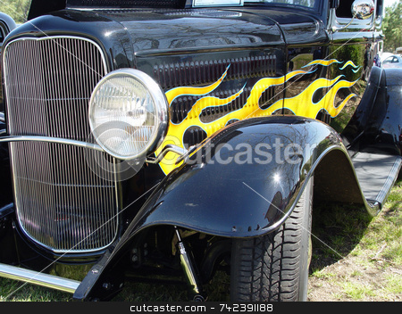 Black Hotrod stock photo, Hot rod at a car show by Jack Schiffer