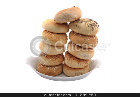 Bagels stock photo, Stacked bagels on isolated by Jack Schiffer