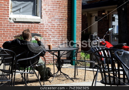 Cafe stock photo, Sidewalk cafe in the city by Jack Schiffer