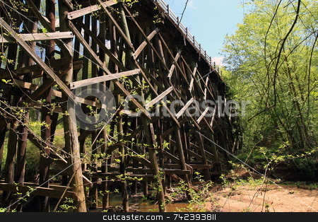 Bridge Structure stock photo, Timbers of a wood Bridge arcitechture by Jack Schiffer