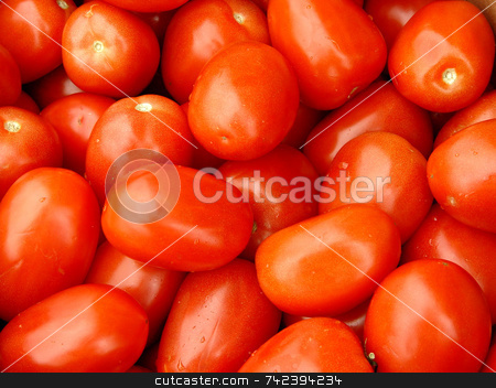 Roma tomatoes stock photo, Close up shot of tomatoes in a basket at the market by Jack Schiffer