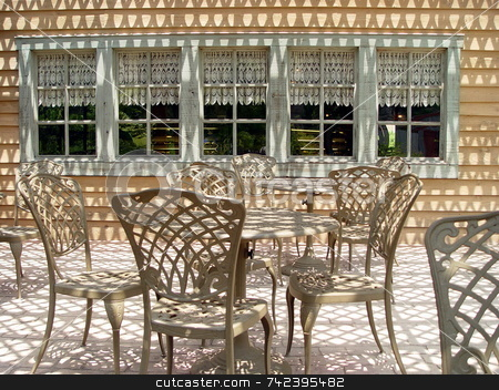 Patio of Shadows  stock photo, Shadow pattern on restaurant patio by Jack Schiffer