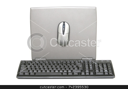 Laptop Display stock photo, Backside of laptop monitor with keyboard and mouse by Jack Schiffer