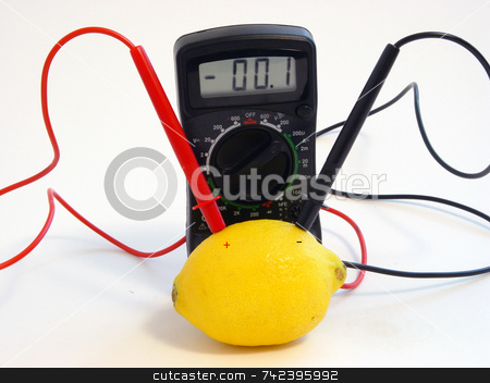Lemon Power stock photo, Multimeter checking lemon for voltage by Jack Schiffer