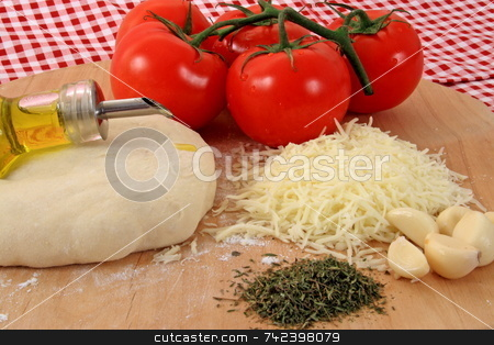 Pizza Ingredients stock photo, The makings of a real pizza by Jack Schiffer