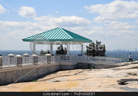 View from a Mountain onto water stock photo, Gazebo on top of Stone mountain overlooking towards Atlanta Georgia by Jack Schiffer