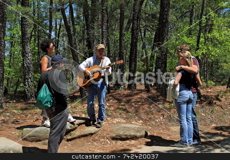 Singing On The Mountain stock photo, Entertainment along the hicking path by Jack Schiffer