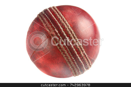An old used red cricket ball, isolated on a white background. stock photo, An old used red cricket ball, isolated on a white background. by Stephen Rees