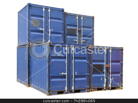 Ship cargo containers, isolated on a white background. stock photo, Ship cargo containers, isolated on a white background. by Stephen Rees