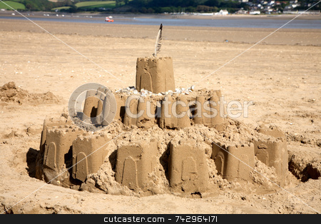 A big sandcastle on the beach. stock photo, A big sandcastle on the beach. by Stephen Rees