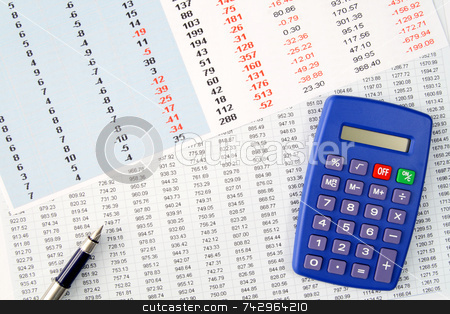 Reviewing financial numbers on a spreadsheet. stock photo, Reviewing financial numbers on a spreadsheet. by Stephen Rees