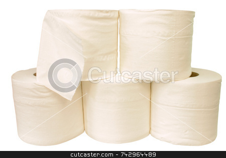 White toilet rolls stock photo, White toilet rolls by Stephen Rees