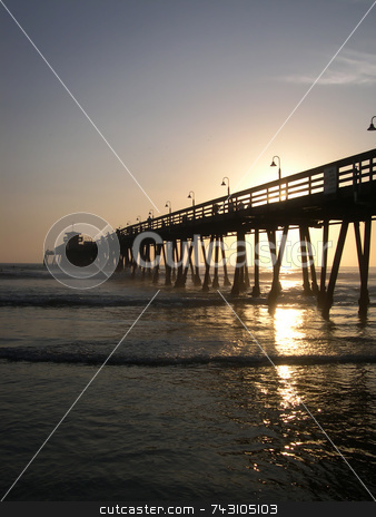 California Pier Sunset stock photo,  by Jodi Baglien Sparkes