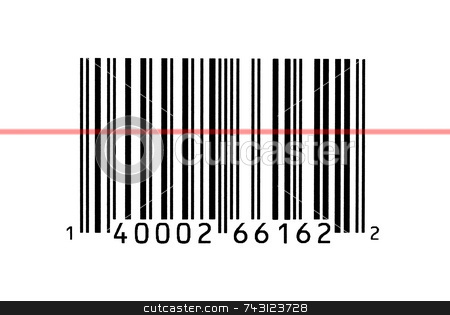Macro photograph of a bar code stock photo, Macro photograph of a bar code being read by Vince Clements