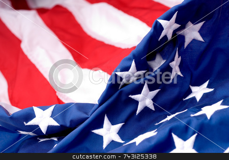 America stock photo, Closeup of an American flags by Vince Clements