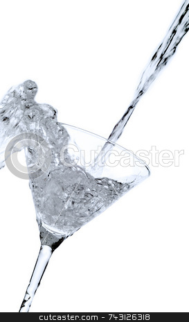 Martini Splash stock photo, A big splash spilling over a backlit martini glass - tilted by Vince Clements