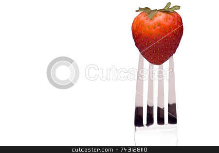 Strawberry on Fork - isolated stock photo, A fresh red strawberry on a fork isolated on white by Vince Clements