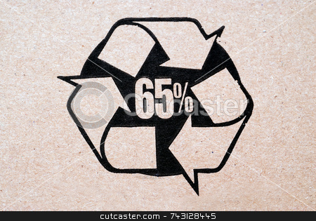 Recycled Cardboard stock photo, 65% recycled cardboard by Vince Clements