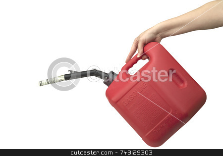 High cost of gas 1 stock photo, Women's hand pouring moeny from a gas can. Isolated on white by Vince Clements