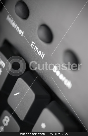 Email button stock photo, Closeup of an email button on a black keyboard by Vince Clements