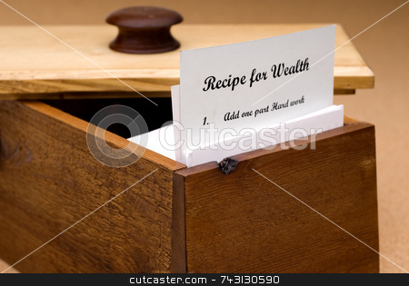 Recipe for Wealth stock photo, A concept of a recipe for wealth contained on a recipe card in a wooden recipe box by Vince Clements