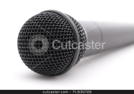 Microphone on white stock photo, Closeup of a microphone on white by Vince Clements