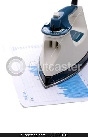 Ironing out the economy stock photo, Iron on a stock report to indicate ironing out the economy by Vince Clements