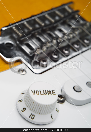 Coseup of electric guitar volume stock photo, Closeup of electric guitar volume knob by Vince Clements