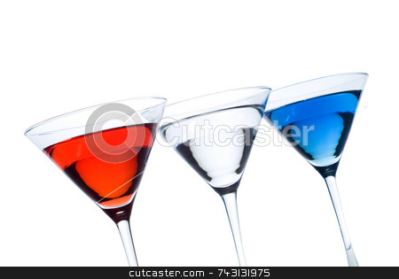 Patriotic Martinis stock photo, Backlit r Red white and blue martinis in a row with a patriotic theme - titled by Vince Clements