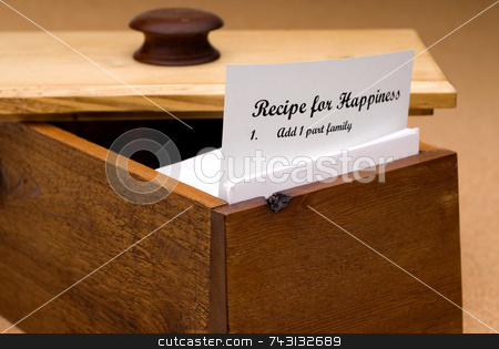 Recipe for Happiness stock photo, A concept of a recipe for happiness contained on a recipe card in a wooden recipe box by Vince Clements