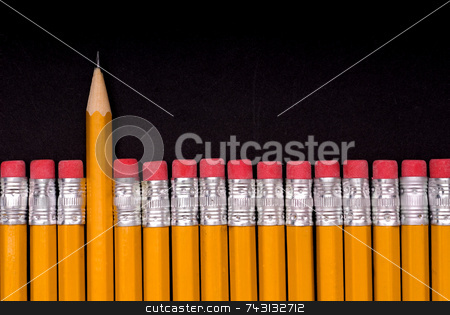 The Sharp One - on black stock photo, A sharp pencil amid a number of pencils eraser end up. Concept of a sharp or different individual or object amid many similar objects by Vince Clements