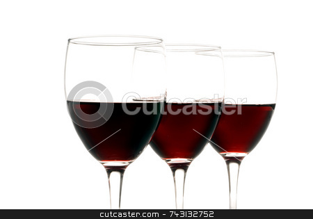 Red wine on white stock photo, Three glasses of red wine isolated on a white background by Vince Clements